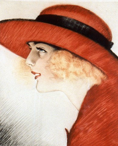 Dame in Rot, um 1925